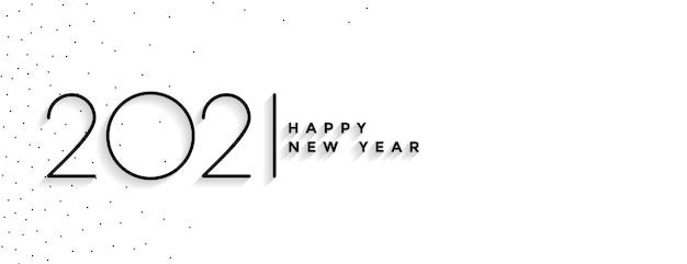 Banner elegante de feliz año nuevo mínimo 2021