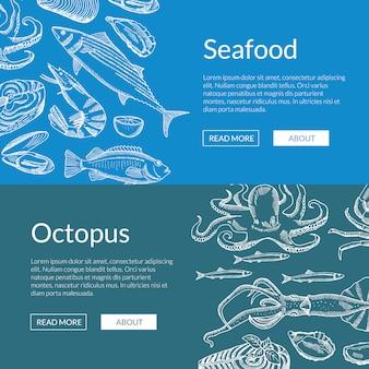 Banner de elementos de mariscos dibujados a mano