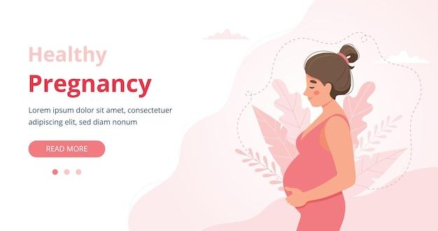 Banner de embarazo, ilustración de mujer embarazada en estilo de dibujos animados lindo
