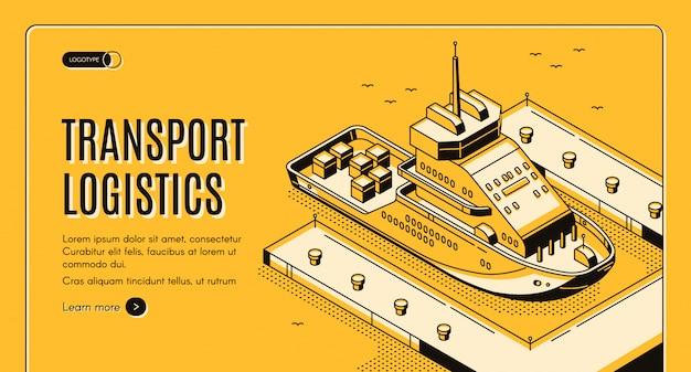 Banner de empresa de entrega de puerto de barco