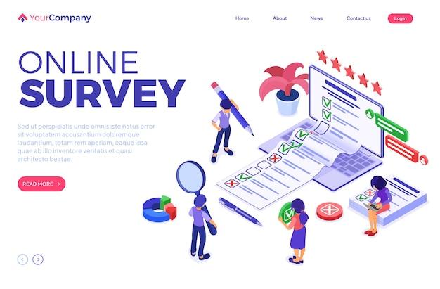 Banner de encuesta online con personajes isométricos