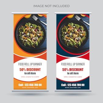 Banner enrollable de comida para restaurante