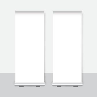 Banner enrollable vacío con ilustración de vector de plantilla de presentación de soporte