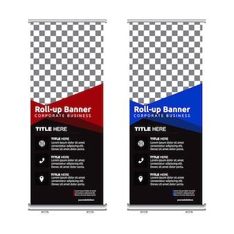 Banner enrollado conjunto azul rojo