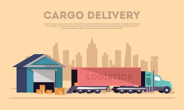 Banner de entrega de carga y logística