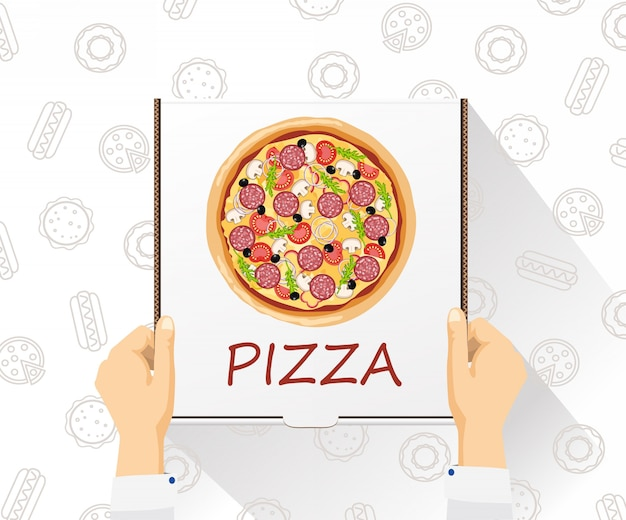Banner de entrega de comida entrega de pizza estilo plano, vista superior