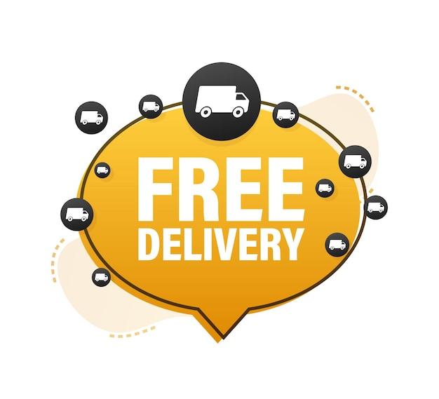 Banner de entrega gratuita. insignia con camión. ilustración de stock vectorial.