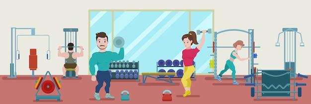 Banner de entrenamiento de fitness plano con culturistas y atletas haciendo ejercicio físico en el gimnasio