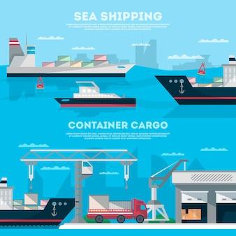 Banner de envío marítimo con puerto de carga
