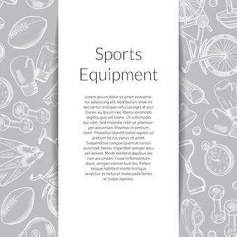 Banner con equipamiento deportivo dibujado a mano.