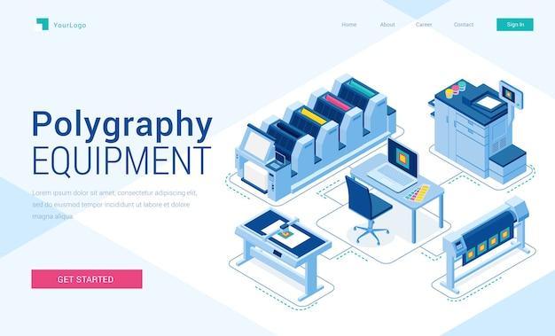 Banner de equipos de poligrafía. negocio de tipografía, servicio de impresión.
