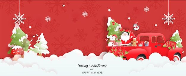 Banner de escena de navidad con lindo santa y árbol de navidad.
