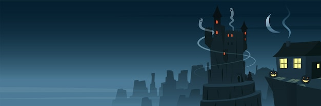 Banner de escena nocturna misteriosa y espeluznante