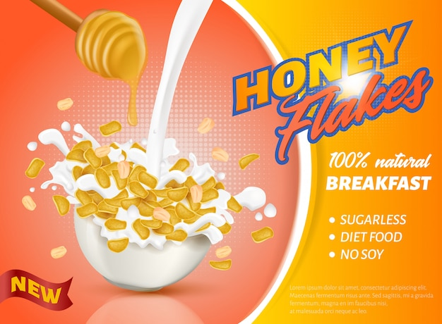 Banner está escrito new honey flakes realistic.