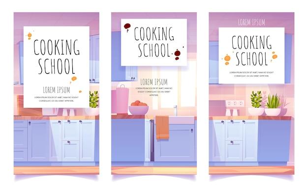 Banner de escuela de cocina de dibujos animados