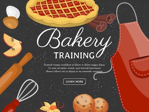Banner de la escuela de formación para hornear. postres afrutados de chocolate dulce pastelería con cupcake