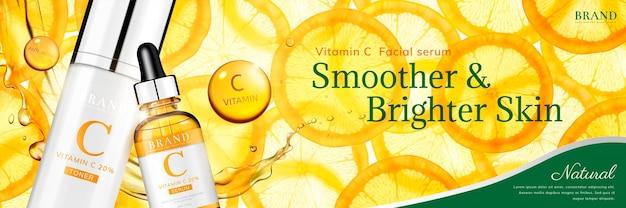 Banner de esencia de vitamina c con naranja en rodajas translúcidas y botella de gotitas, ilustración 3d