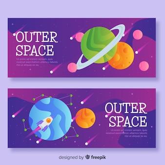 Banner espacio exterior dibujado a mano