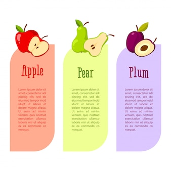 Banner con espacio para su texto. beneficios de las frutas. manzana roja, pera y ciruela.