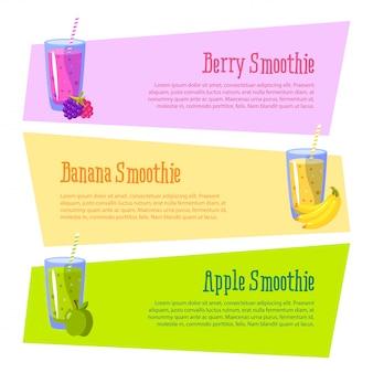 Banner con espacio para su texto. smoothies beneficios. manzana, plátano y bayas.
