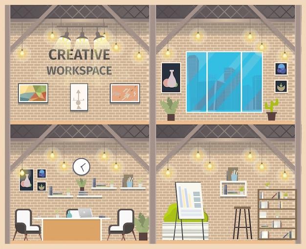 Banner de espacio de trabajo empresarial de dos pisos coworking