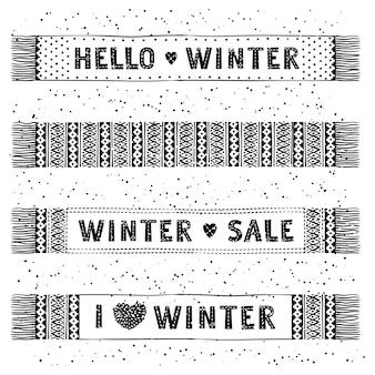 Banner especial de invierno o etiquetas con bufandas de lana tejidas. venta estacional del concepto de las compras del negocio.