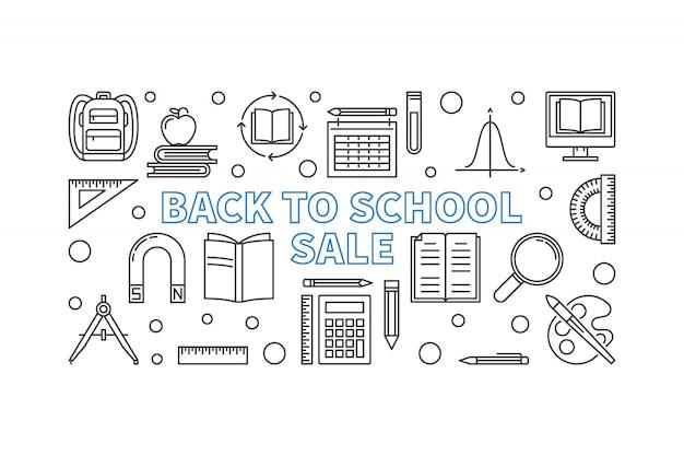 Banner de esquema de concepto de venta de regreso a la escuela