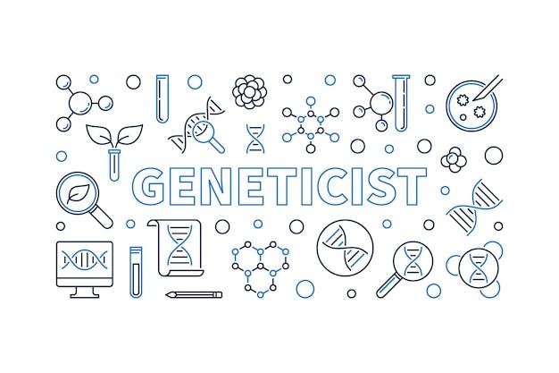 Banner de esquema de ilustración de icono de genetista