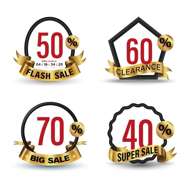 Banner establece ilustración de estilo 3d de oro para promoción publicidad.