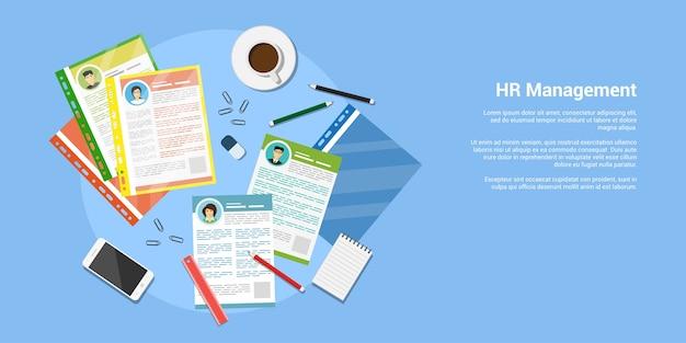 Banner de estilo, concepto de recursos humanos y contratación, archivos cv con suministros de oficina
