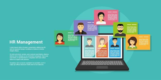 Banner de estilo, concepto de recursos humanos y reclutamiento, avatares de portátiles y personas
