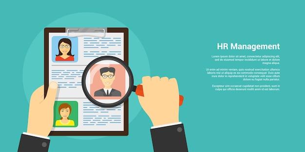 Banner de estilo, concepto de recursos humanos y reclutamiento, mano humana con lupa y avatares de personas