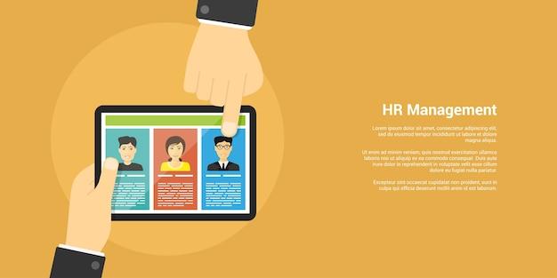 Banner de estilo, concepto de recursos humanos y reclutamiento, manos humanas, tableta digital y avatares de personas