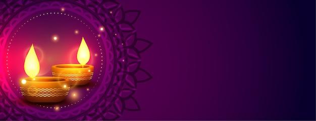 Banner de estilo indio feliz diwali brillante con copyspace