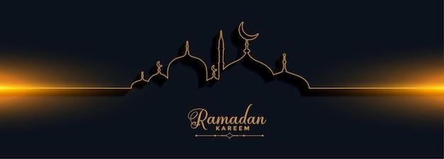 Banner de estilo de línea hermosa de ramadan kareem