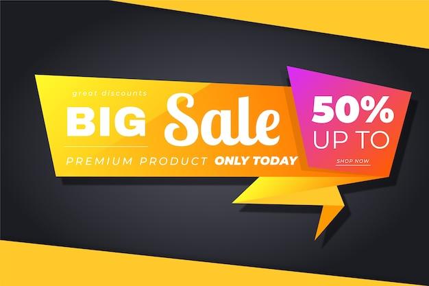 Banner de estilo origami de ventas