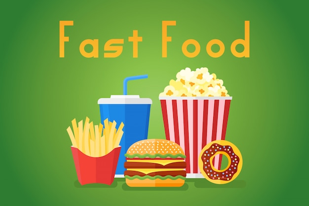 Banner de estilo plano de comida rápida con hamburguesas, papas fritas, refrescos, palomitas de maíz y donas.