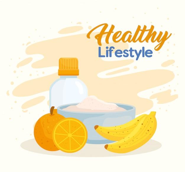 Banner estilo de vida saludable con alimentos frescos.