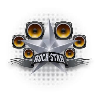Banner de estrella de rock con estrella metálica y altavoces acústicos.