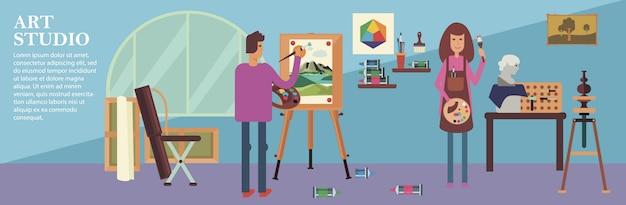 Banner de estudio de arte plano con artistas masculinos y femeninos que trabajan esculturas pintura de caballete y herramientas de dibujo