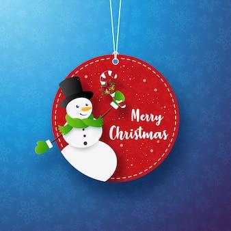 Banner de etiqueta de círculo de muñeco de nieve de navidad