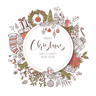 Banner, etiqueta o emblema de feliz navidad y feliz año nuevo redondo con lindos elementos festivos de dibujo y decoraciones. boceto de fondo e ilustración de vacaciones