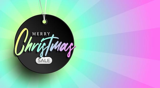 Banner de etiqueta de venta de navidad. ilustración de vector de etiqueta de venta de feliz navidad de color iridiscente brillante holográfico.