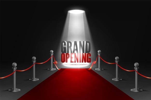 Banner de evento de gran inauguración en focos