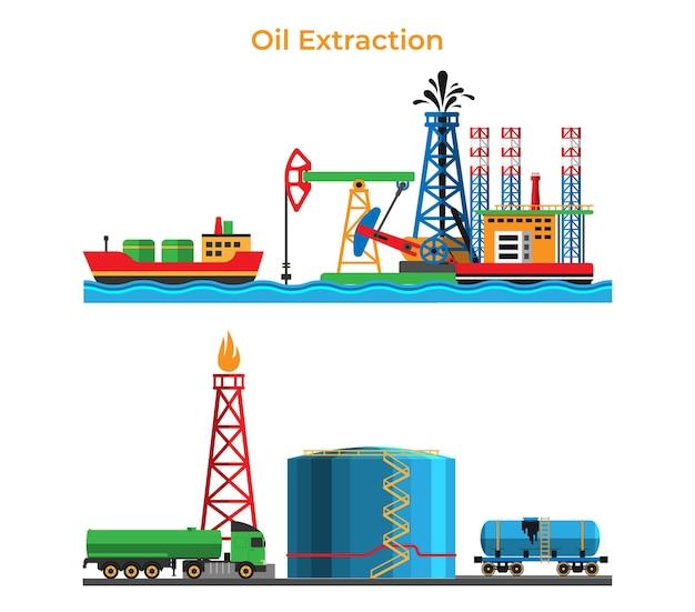 Banner de extracción y procesamiento de petróleo, servicio de producción de petróleo.
