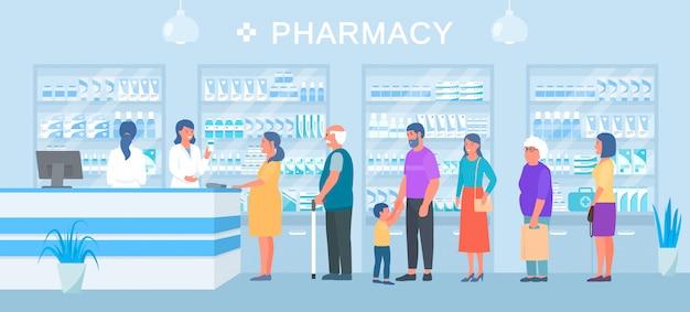 Banner de farmacia, cola de compradores de medicamentos, vendedores de farmacéuticos