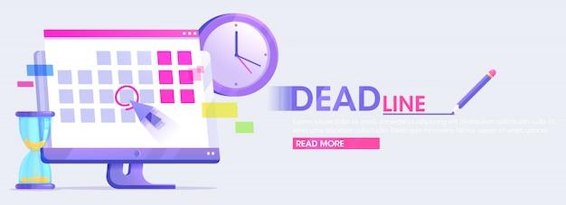 Banner de fechas y plazos. computadora con calendario, reloj y reloj de arena. plano