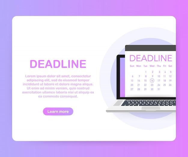 Banner de fechas y plazos. computadora con calendario. .