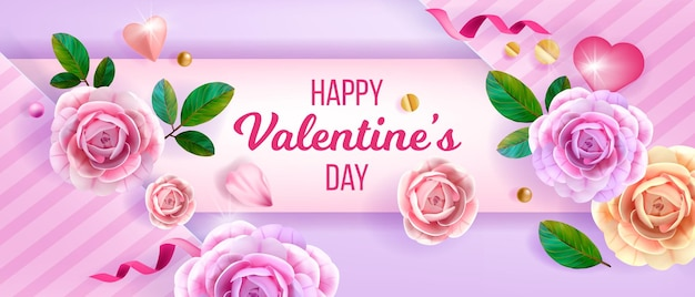 Banner de felicitación floral de san valentín con rosas, flores, corazón, confeti.