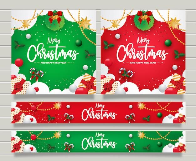 Banner de felicitación de navidad y feliz año nuevo templte